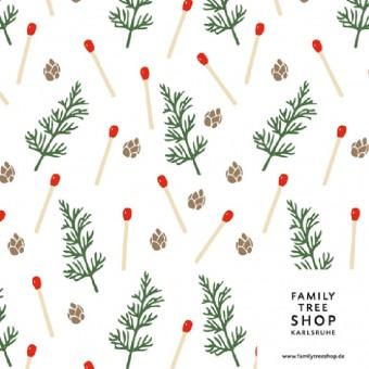 Family Tree Shop 3 Bögen Geschenkpapier, Motiv Streichhölzchen