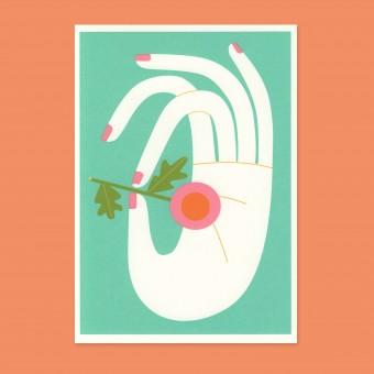 Anne Albert – Flowers + Hand – Siebdruck (17,6 x 12,2 cm)