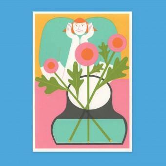 Anne Albert – Flowers + Smile – Siebdruck (17,6 x 12,2 cm)