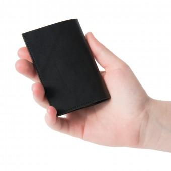 Mini Portemonnaie in schwarz - aus premium pflanzlich gegerbtem Leder