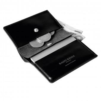 Mini Portemonnaie in schwarz mit Münzfach - aus premium pflanzlich gegerbtem Leder