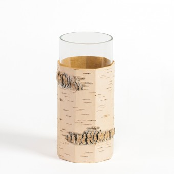 MOYA Vase / Blumenvase aus Birkenrinde und Glas - TARA