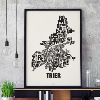 Buchstabenort Trier Stadtteile-Poster Typografie Siebdruck