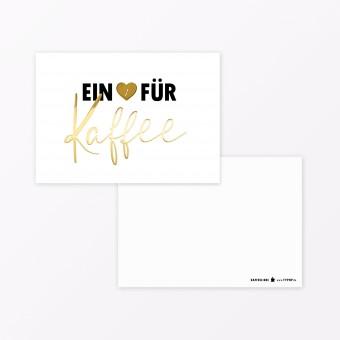 """TYPOP  zur Wunschliste hinzufügen Postkarte """"Ein Herz für Kaffee"""" A6 mit Goldfolie"""