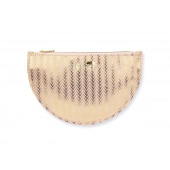 lille mus Täschchen Halbmond aus Leder – Gold gemustert