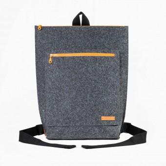 RÅVARE City-Rucksack aus Nadelfilz grau-orange [TAMO]