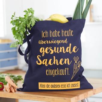 """Frau Schnobel Grafik Baumwolltasche """"Gesund"""" blau"""