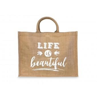 """Design Verlag – Einkaufstasche / Shopper aus Jute """"Life is beautiful"""""""