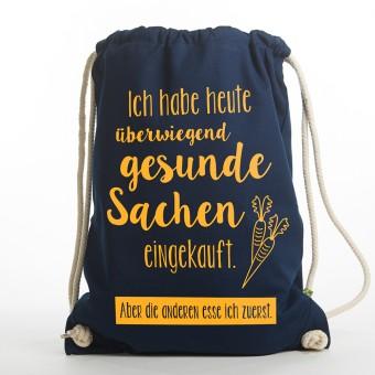 "Frau Schnobel Grafik  Turnbeutel ""Gesund"" Dunkelblau"
