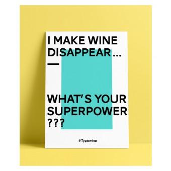 """Typo Poster A2 Artprint mit Weinspruch """"Superpower"""" von Typewine"""