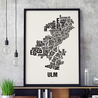 Buchstabenort Ulm Stadtteile-Poster Typografie Siebdruck