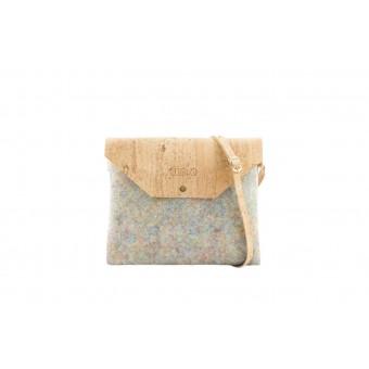 UlStO – MARILA Handtasche Quadratisch Konfetti Natur Kork vegan