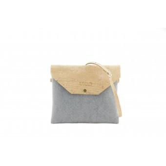 UlStO – MARILA Handtasche Quadratisch Grau Natur Kork vegan