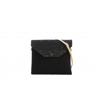 UlStO – MARILA Handtasche Quadratisch Schwarz Gold Kork vegan