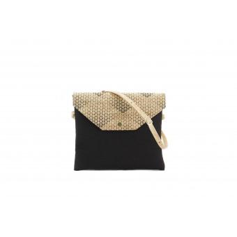 UlStO – MARILA Handtasche Quadratisch Schwarz Muster Kork vegan