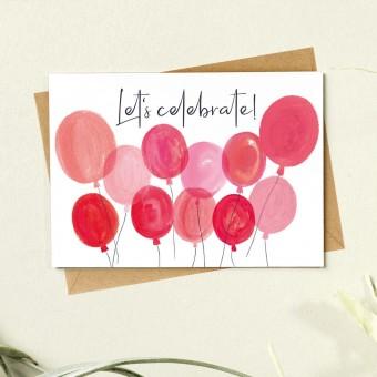 Paperlandscape | Faltkarte | Luftballons | Let's celebrate | Geburtstagskarte