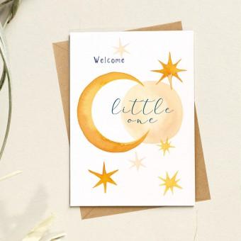 Paperlandscape | Faltkarte | Geburtskarte | Welcome little one | Sonne Mond und Sterne