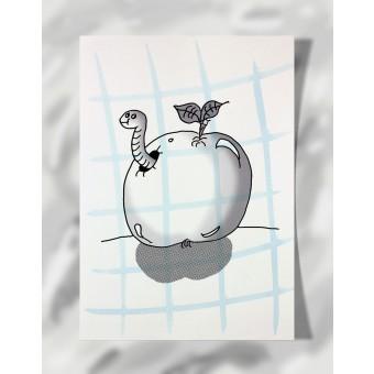 """DisplayThis  """"Worm in an apple"""" II (DIN A4) Artprint auf Künstlerpapier"""