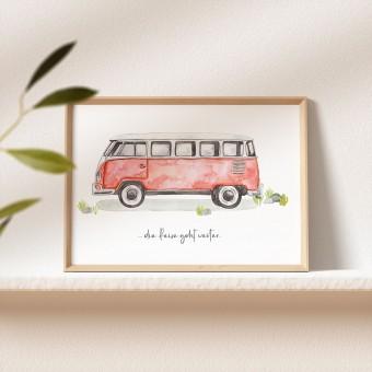 Paperlandscape | Kunstdruck | Camper | vanlife | VW Bulli T1 | verschiedene Größen | rot