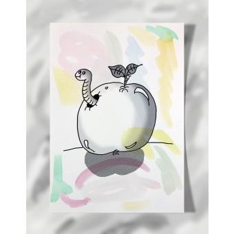 """DisplayThis  """"Worm in an apple"""" I (DIN A4) Artprint auf Künstlerpapier"""