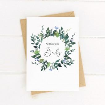Paperlandscape | Faltkarte | Willkommen Baby | Geburtskarte | Blumenkranz