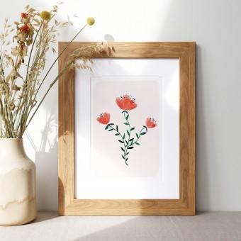 Paperlandscape | Kunstdruck | Wildblumen | Aquarell Pflanzen | verschiedene Größen | rot