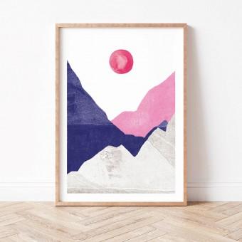 Paperlandscape | Kunstdruck | Berge blau pink | abstrakte Landschaft | verschiedene Größen
