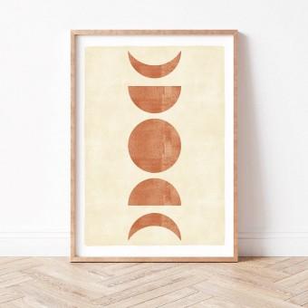 Paperlandscape | Kunstdruck | Mondphasen Terracotta | verschiedene Größen
