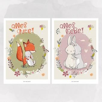 designfeder | Postkarten Alles Gute_Alles Liebe