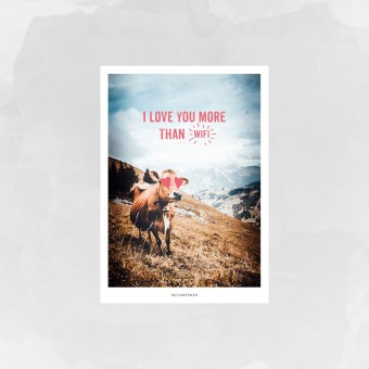 designfeder | Postkarte I love you more than WiFi