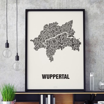 Buchstabenort Wuppertal Stadtteile-Poster Typografie Siebdruck