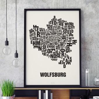 Buchstabenort Wolfsburg Stadtteile-Poster Typografie Siebdruck