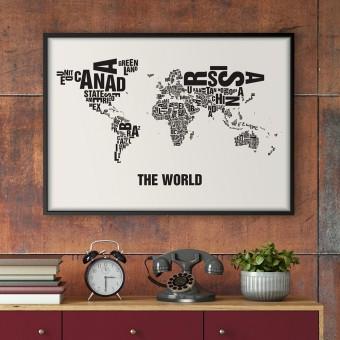 Buchstabenort The World Stadtteile-Poster Typografie Siebdruck