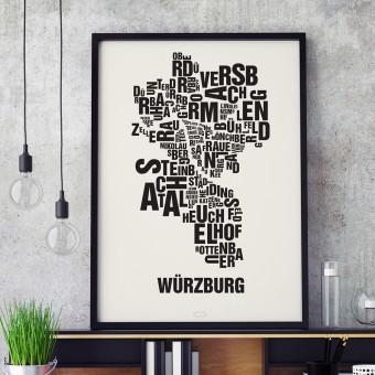 Buchstabenort Würzburg Stadtteile-Poster Typografie Siebdruck