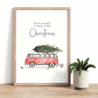 Paperlandscape | Aquarell Kunstdruck | Weihnachtsposter | Weihnachtsdruck Camper | verschiedene Größen