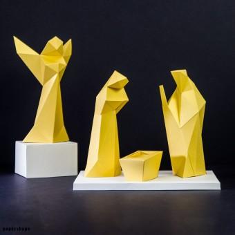 PaperShape Kubistische Weihnachtskrippe aus Papier im DIY Kit als Adventskalender