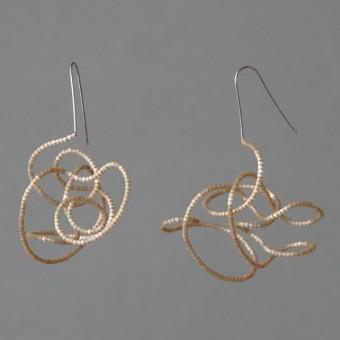 Gewirr gold - margaritifera - Ohrhänger - Stahl und Glas