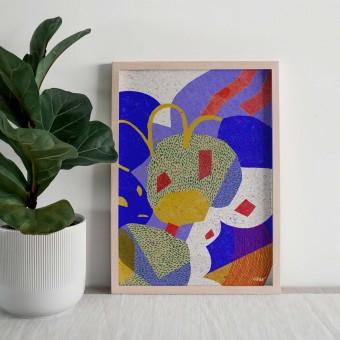 formwiese »Schaukelwiese« (nachhaltiges Din A3 Poster, Graspapier, abstrakt)