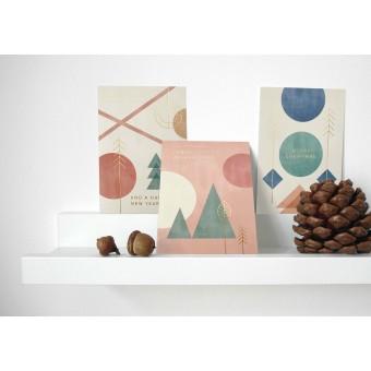 Designfräulein // Weihnachtskarten // 3er-Set // Geometric Xmas Gold