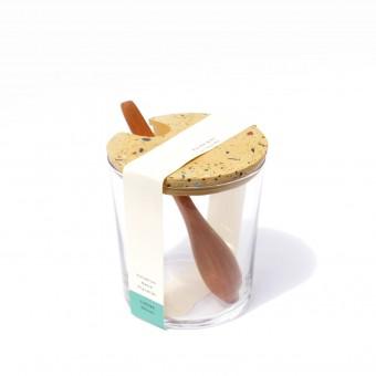 VLO design / Großes Glas mit Holzlöffel & ockem Deckel