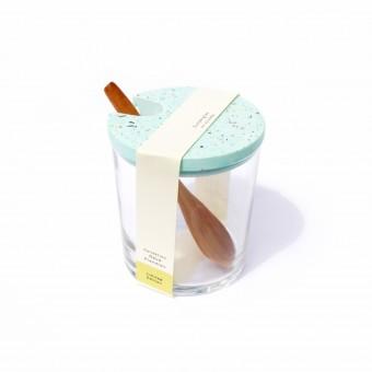 VLO design / Terrazzo Großes Glas mit Holzlöffel & türkisem Deckel
