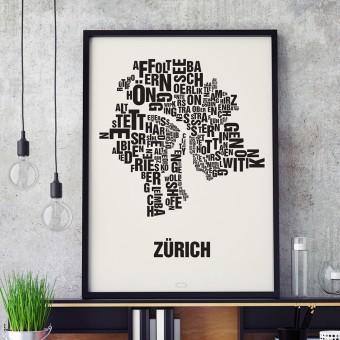 Buchstabenort Zürich Stadtteile-Poster Typografie Siebdruck