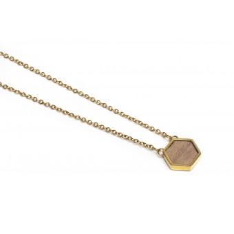 BeWooden Halskette mit Anhänger mit Holzdetails - Apis Necklace Hexagon