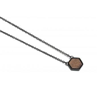 BeWooden Halskette mit Anhänger mit Holzdetail - Apis Nox Necklace Hexagon