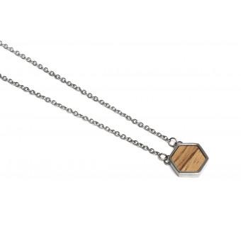 BeWooden Halskette mit Anhänger mit Holzdetail - Lini Hexagon