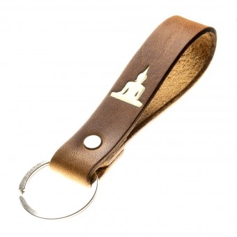 LIEBHARDT - Schlüsselanhänger mit Botschaft aus pflanzlich gegerbtem Leder Handmade in Germany mit Gravur/Prägung (Buddha)
