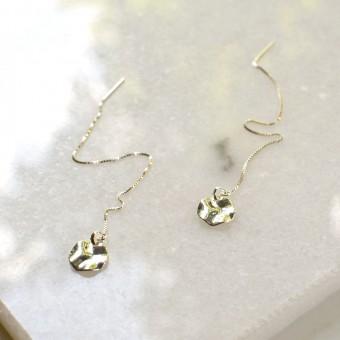 Gudbling // Sterling Silber Threader Ohrringe mit Kreis Anhänger