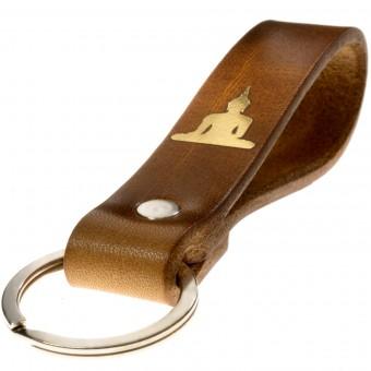 LIEBHARDT - Schlüsselanhänger Leder braun Schutzengel Gold Gravur/Prägung Geschenk zu Weihnachten für Frauen Männer mit Liebe in Deutschland gefertigt
