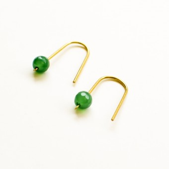 Gudbling // Minimal Arc Ohrringe mit grünem Achat