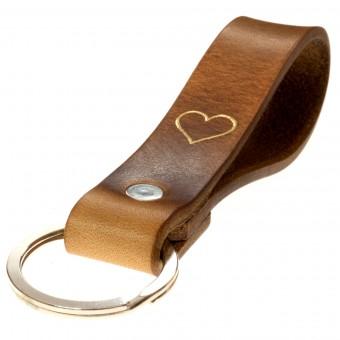 LIEBHARDT - Geschenk mit Herz Leder Schlüsselanhänger Leder als Dankeschön für Frauen Männer in Gold eingeprägt
